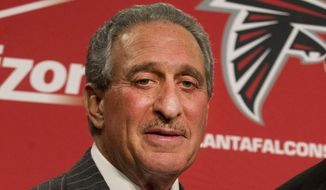 "FILE - In this Feb. 3, 2015, file photo, Atlanta Falcons owner Arthur Blank poses after  a news conference in Flowery Branch, Ga. Blank says there is a ""general feeling"" that the Patriots' failure to acknowledge mistakes hurt the them when it came to the punishment they received for deflating footballs. Blank stressed Thursday, May 14, 2015, while at a community improvement event that he has no direct knowledge of the Patriots' case, but couldn't help but contrast what happened to his club less than two months ago. The Patriots were hit with more severe punishments than the (AP Photo/John Bazemore, File)"
