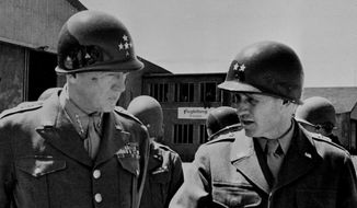 Gen. George S. Patton Jr., left, commander of the U.S. 15th Army, and his chief of staff, Maj. Gen. H.R. Gay, right, are pictured in an undated photo. (AP Photo) ** FILE **