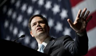 Republican presidential candidate Sen. Marco Rubio of Florida speaks at the Georgia Republican Convention in Athens on May 15, 2015. (Associated Press) **FILE**