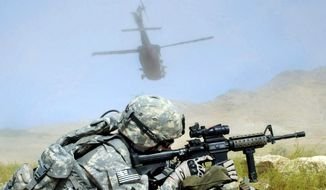 A U.S. Army Staff Sgt. secures a landing zone near the Koh Band district of Kapisa province, Afghanistan, Sept. 14, 2009. (Image: U.S. Army) ** FILE **