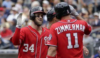 Washington Nationals' Bryce Harper, left, is greeted by teammate Ryan Zimmerman (11) after hitting a three-run home run during the seventh inning in a baseball game against the San Diego Padres, Sunday, May 17, 2015, in San Diego. (AP Photo/Gregory Bull)