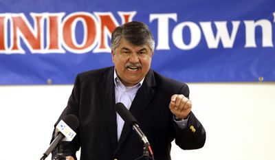 National AFL-CIO President Richard Trumka speaks in Portland, Ore., in this Monday, May 18, 2015, file photo. (AP Photo/Don Ryan) ** FILE **