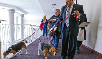 """FILE - In this March 24, 2015, file photo, Nevada Sen. Mark Manendo, D-Las Vegas, brings rescue beagles Dean and Luke into the Legislative Building in Carson City, Nev. The Nevada Assembly passed a so-called """"beagle bill"""" Monday, Monday, May 18, 2015, requiring laboratories to put dogs and cats up for adoption when they're done performing research on them. The Assembly voted 40-1 to pass SB261, which was sponsored by Democratic Sen. Manendo. (AP Photo/Cathleen Allison, File)"""