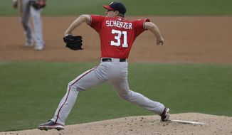 Washington Nationals starting pitcher Max Scherzer throws to a San Diego Padres batter during the second inning in a baseball game Saturday, May 16, 2015, in San Diego. (AP Photo/Gregory Bull)