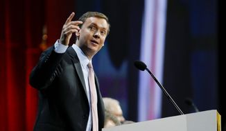 Chris Cox, executive director of the Institute for Legislative Action, the political and lobbying arm of the National Rifle Association, speaks during the annual meeting of members at the NRA convention Saturday, April 11, 2015, in Nashville, Tenn. (AP Photo/Mark Humphrey) ** FILE **