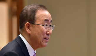 U.N. Secretary-General Ban Ki-moon attends a meeting with South Korean President Park Geun-hye at the presidential Blue House in Seoul Wednesday, May 20, 2015. Ban said Wednesday that North Korea had cancelled an invitation for him to visit a factory park in the country that represents the last major cooperation project between the rival Koreas. (Jung Yeon-je/Pool Photo via AP)