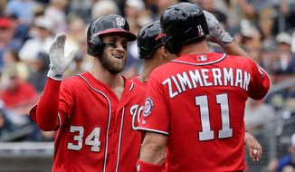A recent torrid offensive stretch by the Nationals' Bryce Harper has fueled a surge by the Nationals from last place in April to atop the National League East entering Friday's game against Philadelphia. (Associated Press)