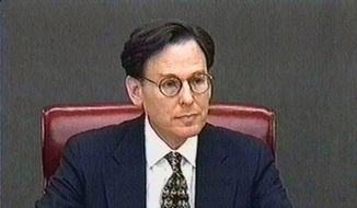 White House aide Sidney Blumenthal, shown in this video image, says during his Feb. 3, 1999, deposition that President Clinton lied to him. The videotape was part of House Manager Rep. James Rogan's, D-Calif., presentation in the Senate impeachment trial of President Clinton, Saturday, Feb. 6, 1999, in Washington. (Associated Press) ** FILE **