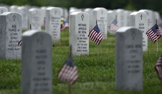 Every headstone at Arlington National Cemetery in Arlington, Va., has a flag placed in front of it, Thursday, May 21, 2015. Flags-In is a time honored tradition that is reserved for Soldiers of the 3rd U.S. Infantry Regiment (The Old Guard).  Since The Old Guard's designation as the Army's official ceremonial unit in 1948, they have conducted this mission annually at Arlington National Cemetery prior to Memorial Day to honor our nation's fallen military heroes. (AP Photo/Susan Walsh)