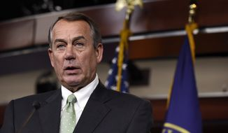 House Speaker John Boehner of Ohio speaks during a news conference on Capitol Hill in Washington, Thursday, May 21, 2015. (AP Photo/Susan Walsh) ** FILE **