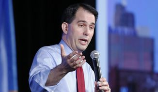 Wisconsin Gov.Scott Walker, a likely presidential candidate, speaks at the Southern Republican Leadership Conference in Oklahoma City, on Thursday, May 21, 2015. (AP Photo/Alonzo Adams)