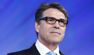 Former Texas Governor Rick Perry speaks at the Southern Republican Leadership Conference in Oklahoma City, on Thursday, May 21, 2015. (AP Photo/Alonzo Adams)
