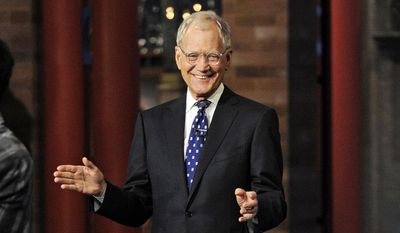 """In this image released by CBS, David Letterman appears during a taping of his final """"Late Show with David Letterman,"""" Wednesday, May 20, 2015, at the Ed Sullivan Theater in New York. (Jeffrey R. Staab/CBS via AP) ** FILE **"""