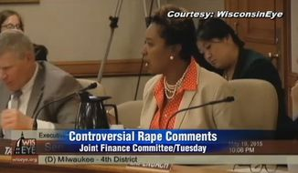 """Facing calls for an apology, Wisconsin state Sen. Lena Taylor on Wednesday defended her use of the word """"rape"""" to describe what Republican budget cuts are doing to public schools, because she is a victim of sexual assault. (WKOW)"""
