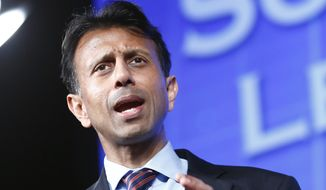 Louisiana Gov. Bobby Jindal speaks at the Southern Republican Leadership Conference in Oklahoma City on Friday, May 22, 2015. (AP Photo/Alonzo Adams)