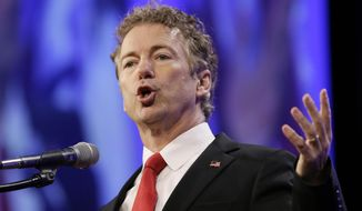 Republican presidential candidate Sen. Rand Paul speaks in Des Moines, Iowa, on May 16, 2015. (Associated Press) **FILE**