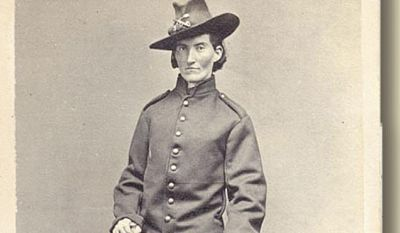 """This is a Civil War era photo provided by the Library of Congress shows Frances Clalin Clayton,  who disguised herself as a man, """"Jack Williams,"""" to fight in the Civil War.  On May 15, 2015, Steve Killings, board president of The Academy for Veteran Education and Training,  an educational nonprofit group located at Historic Jordan Springs, said that the organization is trying to erect a monument to honor the more than 500 women who posed as men so they could fight. (Library Of Congress via AP)"""