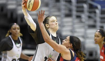 Minnesota Lynx Lindsay Whalen, left, works the ball against Washington Mystics' Bria Hartley during an WNBA basketball special analytic scrimmage, Tuesday, May 26, 2015, in Washington. (AP Photo/Nick Wass)