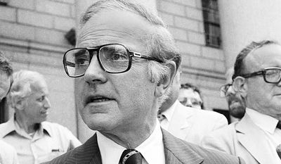 Rep. John Murphy speaks to reporters Sept. 3, 1980 in New York prior to Federal Court Appeals appearance. Murphy, under indictment in the ABSCAM case, asked the 2nd U.S. Circuit Court of Appeals to release any videotapes involving him, alleging the Justice Department leaked portions of the tapes to columnist Jack Anderson.     (AP Photo/David Bookstaver)