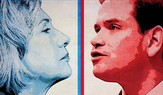 Rubio-Clinton Faceoff Illustration by Greg Groesch/The Washington Times