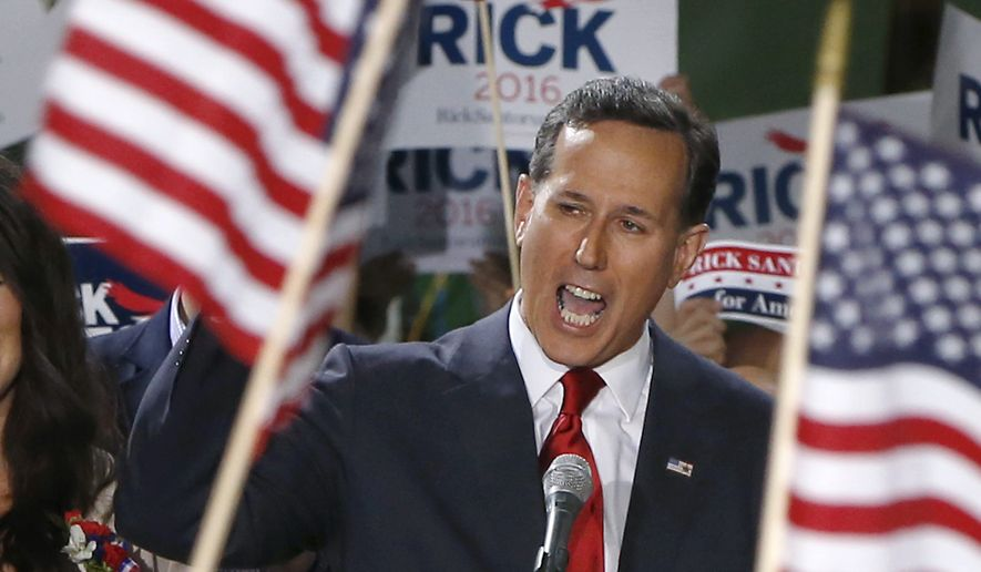 Former U.S. Sen. Rick Santorum announces his candidacy for the Republican nomination for President of the United States in the 2016 election on Wednesday, May 27, 2015 in Cabot, Pa. (AP Photo/Keith Srakocic) ** FILE **