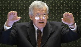 A statement from the U.S. attorney's office in Chicago says former Speaker of the House Dennis Hastert is accused of structuring the withdrawal of $952,000 in cash in order to evade the requirement that banks report cash transactions over $10,000. He's also accused of lying to the FBI. (Associated Press)