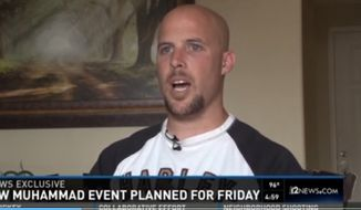 """Hundreds of protesters gathered outside a """"draw Muhammad"""" contest Friday sponsored by ex-Marine Jon Ritzheimer in Phoenix, but there were no arrests or violence. (12 News)"""