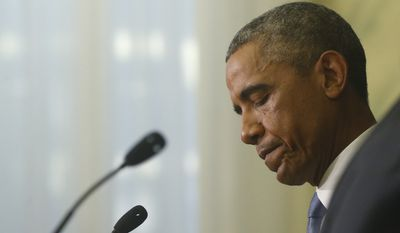 President Obama pauses while speaking about U.S. journalist Steven Sotloff, killed by Islamic State militants, in Tallinn, Estonia, Sept. 3, 2014. (Associated Press) ** FILE **