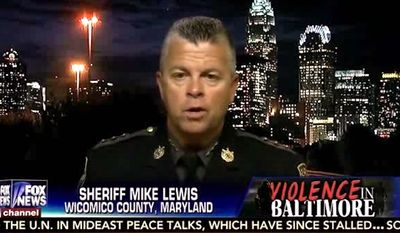 """Sheriff Mike Lewis of Wicomico County, Maryland, said Wednesday that the Baltimore Police Department has been """"eviscerated,"""" and police officers are fearful to do their jobs in the city rocked by violence following the death of Freddie Gray. (Fox News)"""