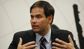 Republican presidential candidate, Sen. Marco Rubio, R-Fla. speaks during a technology roundtable at the Switch Innovation Center, Friday, May 29, 2015, in Las Vegas. (AP Photo/John Locher)