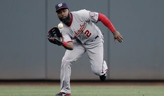 Washington Nationals center fielder Denard Span catches out Cincinnati Reds' Marlon Byrd in the second inning of a baseball game, Friday, May 29, 2015, in Cincinnati. (AP Photo/John Minchillo) **FILE**