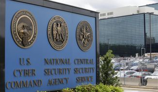 In this June 6, 2013 file photo, the sign outside the National Security Agency (NSA) campus in Fort Meade, Md. Barring a last-minute deal in Congress, three post 9/11 surveillance laws used against spies and terrorists are set to expire midnight Sunday. Will that make Americans less secure?  Absolutely, senior Obama administration officials say.  Nonsense, counter civil liberties activists.  (AP Photo/Patrick Semansky, File)