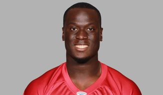This is a 2014 photo of Prince Shembo of the Atlanta Falcons NFL football team. This image reflects the Atlanta Falcons active roster as of Sunday, June 15, 2014 when this image was taken. (AP Photo)