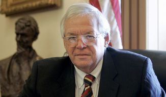 House Speaker Dennis Hastert, R-Ill., sits for a portrait in his Capitol Hill office in this June 15, 2007, file photo. On Thursday, May 28, 2015, federal prosecutors indicted Hastert, 73, on bank-related charges. (AP Photo/Susan Walsh, File)