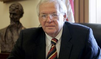 FILE - In this June 15, 2007 file photo, House Speaker Dennis Hastert, R-Ill., sits for a portrait in his Capitol Hill office. On Thursday, May 28, 2015, federal prosecutors indicted Hastert, 73, on bank-related charges. (AP Photo/Susan Walsh, File)