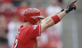 Cincinnati Reds' Jay Bruce celebrates after hitting a double to drive in Joey Votto and Todd Frazier in the seventh inning of a baseball game against the Washington Nationals, Sunday, May 31, 2015, in Cincinnati. (AP Photo/John Minchillo)