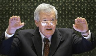 Former U.S. House Speaker Dennis Hastert speaks to lawmakers on the Illinois House of Representatives floor at the state Capitol in Springfield, Ill., in this March 5, 2008, file photo. (AP Photo/Seth Perlman, File)