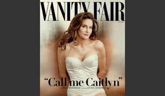 This file photo taken by Annie Leibovitz exclusively for Vanity Fair shows the cover of the magazine's July 2015 issue featuring Bruce Jenner debuting as a transgender woman named Caitlyn Jenner. (Annie Leibovitz/Vanity Fair via AP, File)