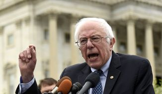 Democratic presidential candidate, Sen. Bernie Sanders, I-Vt., speaks during a news conference on Capitol Hill in Washington, Wednesday, June 3, 2015, to oppose fast-tracking the Trans-Pacific Partnership. (AP Photo/Susan Walsh)