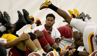 Washington Redskins' DeSean Jackson, center, warms up with teammates during an NFL football organized team activity at Redskins Park, Wednesday, June 3, 2015, in Ashburn, Va. (AP Photo/Pablo Martinez Monsivais)