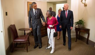 President Obama and Vice President Joseph Biden visited with Vivian Bailey last week at the White House, which took notice of her commitment to community service. Ms. Bailey, who lives in Columbia, Maryland, took her first school field trip to the nation's capital at age 97, nearly 80 years after she graduated from segregated schools in Oklahoma. (White House)