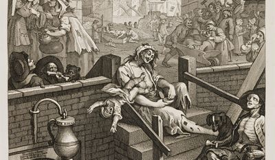 """""""Gin Lane"""" by British printmaker, Bishop William Hogarth, reflects England's troubled society in the late 18th century."""