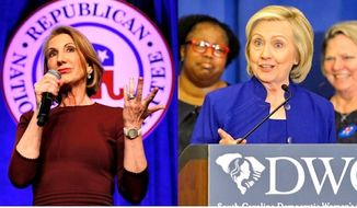 Voters are ready for 2016 combat: Republicans would most like to see a debate between Hillary Rodham Clinton and Carly Fiorina. (Associated Press photographs)