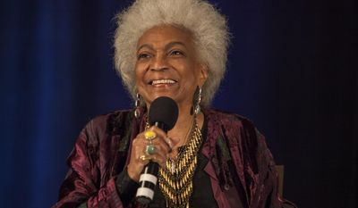 """FILE - In this June 8, 2014 file photo, actor Nichelle Nichols during the Creation Entertainment's Official Star Trek Convention at The Westin O'Hare, in Rosemont, Ill. Nichols, 82, who played Lt. Nyota Uhura in the original """"Star Trek"""" TV series and in subsequent films, is recovering from a stroke suffered Wednesday, June 3, 2015, at her Los Angeles home. Tests indicate the stroke was mild, Zachery McGinnis, her booking manager, said Friday.  (Photo by Barry Brecheisen/Invision/AP, File)"""