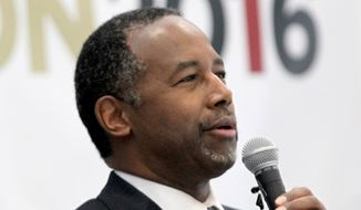 Republican presidential candidate Ben Carson speaks in Manchester, N.H., in this May 10, 2015, file photo. (AP Photo/Mary Schwalm, File)