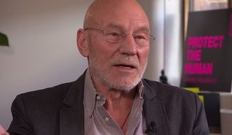 "Actor Patrick Stewart is backing the Christian bakers in the ""gay cake"" debate and said he supports their right to refuse to write a message on a cake that violates their beliefs. (YouTube/BBC Newsnight)"