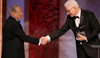 Mel Brooks, left, presents Honoree Steve Martin with his award at the 43rd AFI Lifetime Achievement Award Tribute Gala at the Dolby Theatre on Thursday, June 4, 2015, in Los Angeles. (Photo by Paul A. Hebert/Invision/AP)