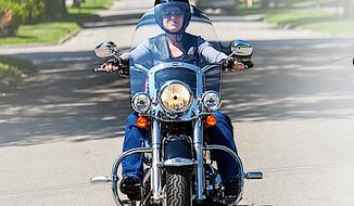 Sen. Joni Ernst, shown here on her prized Harley Davidson, will lead a 40-mile motorcyle ride on Saturday - joined by Gov. Scott Walker and Rick Perry. (Image from Sen. Joni Ernst)