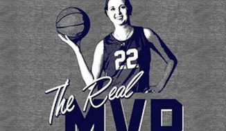 """Supporters of Lauren Hill, the freshman Mount St. Joseph University basketball player who died this year of brain cancer, are selling T-shirts that say """"The Real MVP"""" after Caitlyn Jenner was chosen over the teen for ESPY's Arthur Ashe Award for Courage. (Cincy Shirts)"""