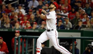 Even without a first-round pick on Monday in the major league draft, the Nationals will not change their focus of drafting the best player available, just as they did with Bryce Harper in 2010. (Associated Press)